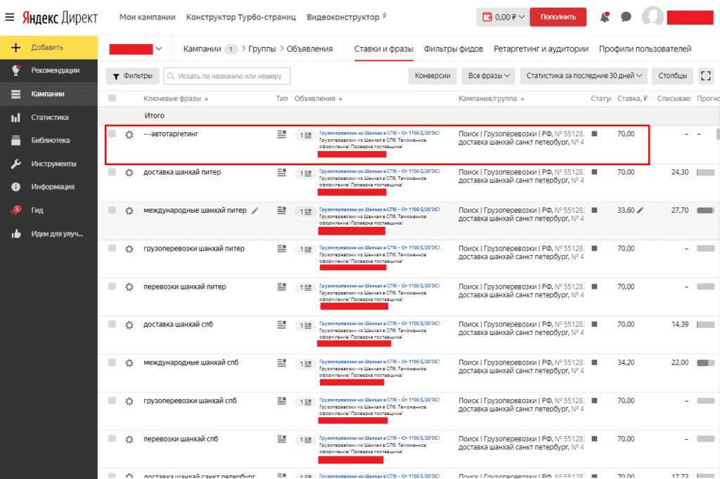 Фраза автотаргетинг в рекламе Яндекс.Директ