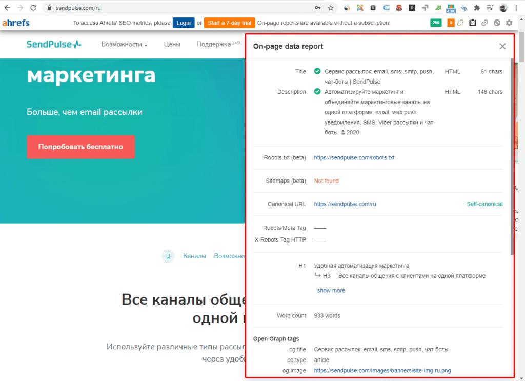 Ahrefs общий отчет в Google Chrom