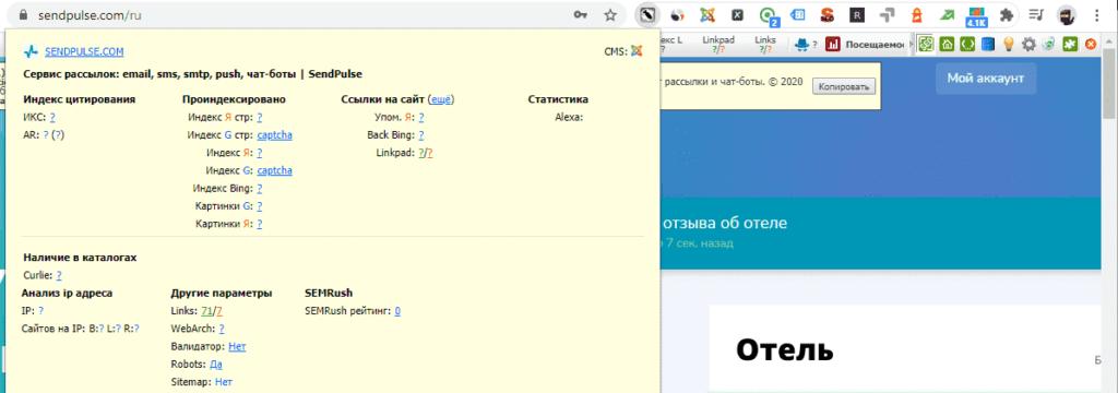 Расширение RDS Bar в Google Chrome