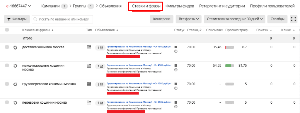 Переход в ставки и удаление autotargeting в Yandex Direct