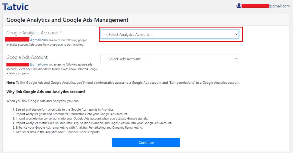 Выбор аккаунта плагину для Google Аналитики Woocommerce WordPress