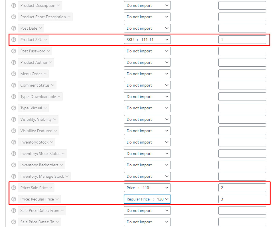 Выбор полей для массового импорта цен с разделителем в Woocommerce WordPress