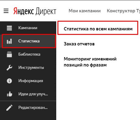 Переход в статистику в Яндекс.Директ