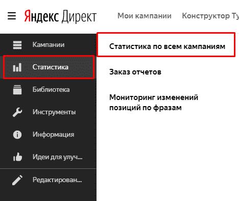 Переход в статистику в Яндекс Директ