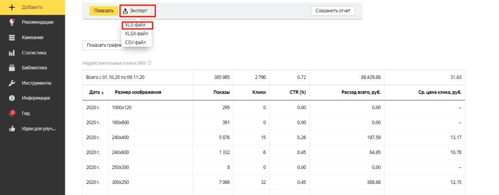Скачивание таблицы со статистикой по размерам изображений в Yandex Direct