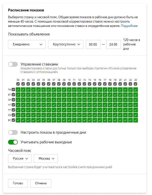 Настройка расписания показов в Яндекс.Директ