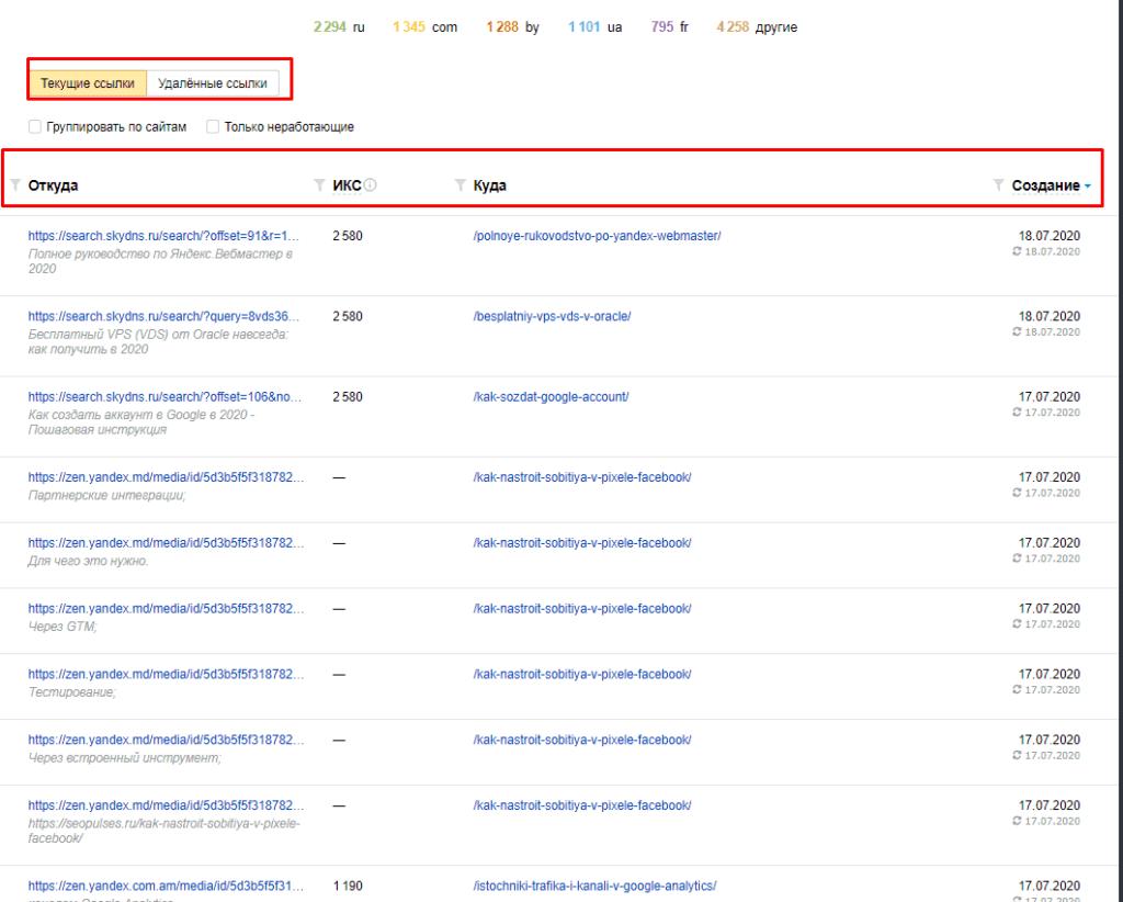 Фильтрация ссылок в Яндекс.Вебмастер