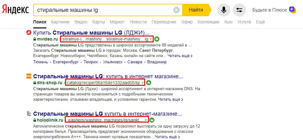 URL страницы в поисковой выдаче Yandex