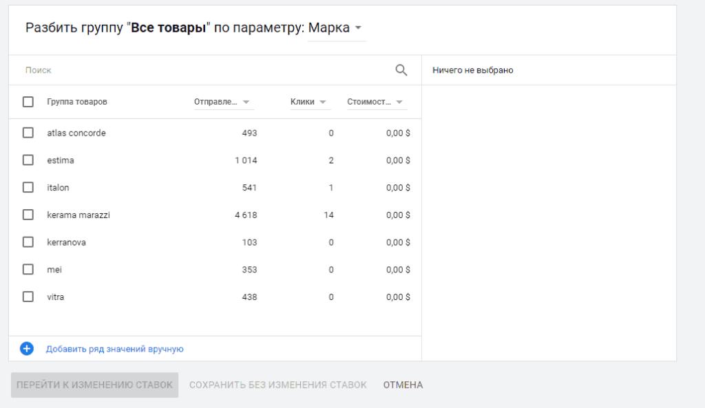 Созданный фильтра товаров по брендам для показа товарной кампании в Google Ads