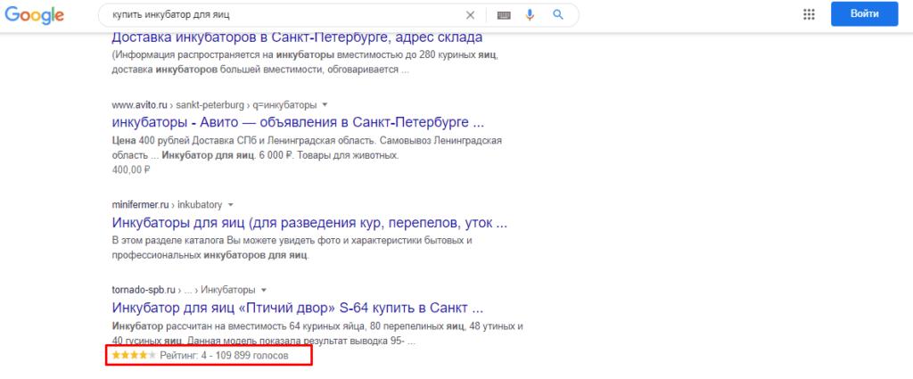 Рейтинг в поисковой выдаче Гугл
