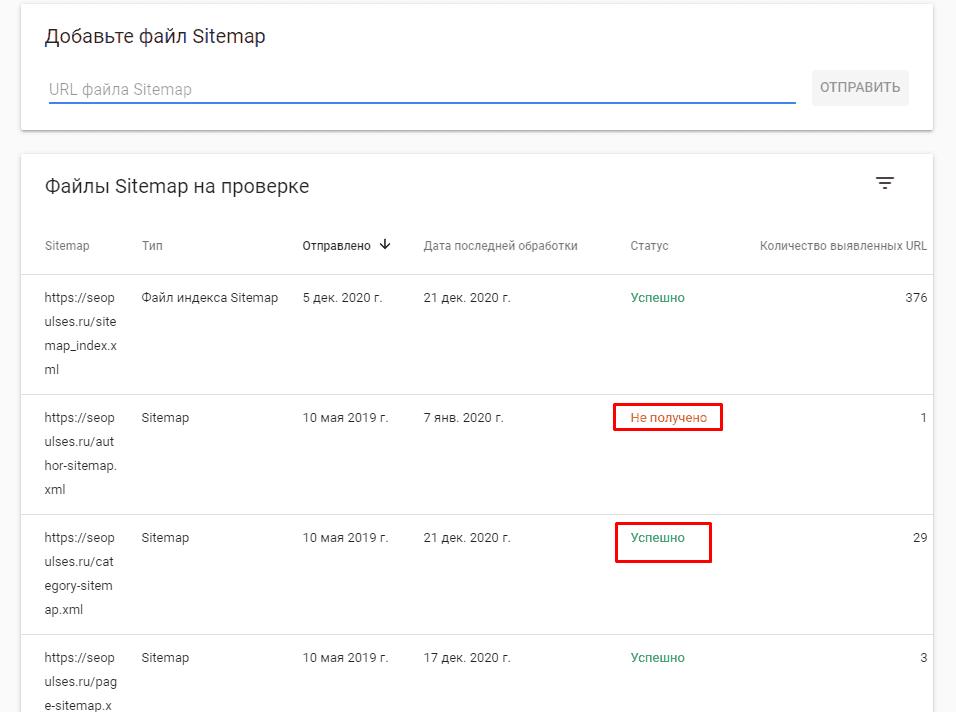 Статус скачивания карты сайта в Google Webmaster