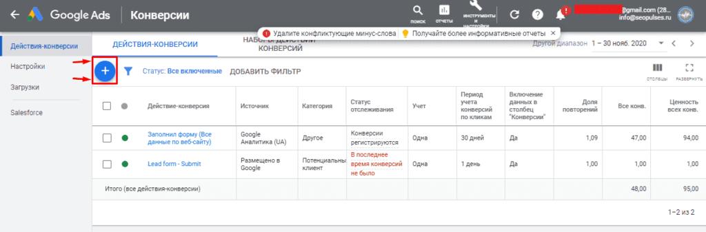 Добавление новой конверсии в Google Adwords