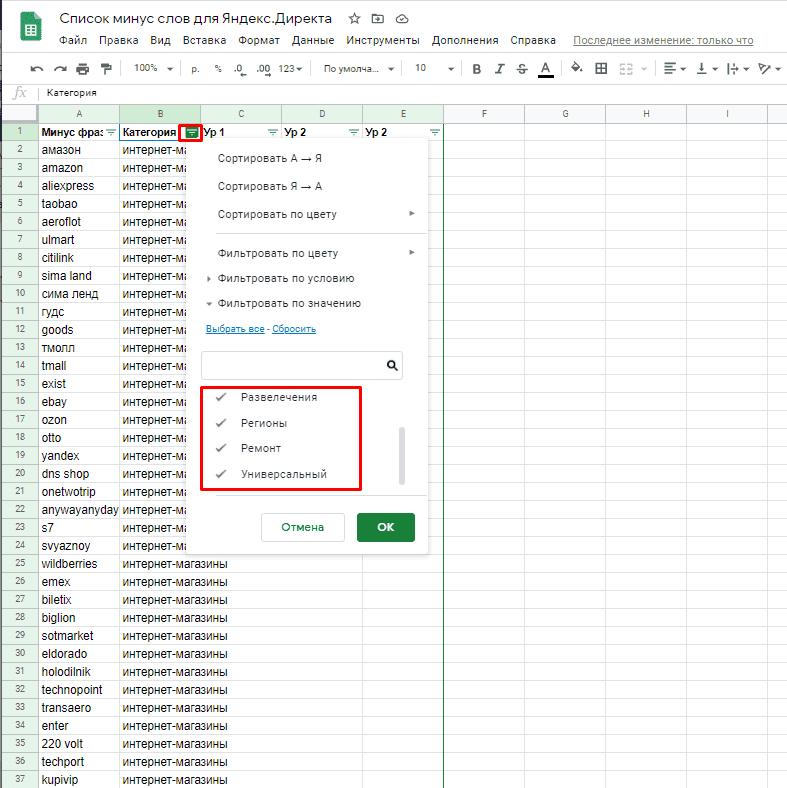 Фильтр по категориям в списке стандартных минус слов для Яндекс Директ