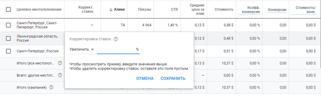 Корректировка для региона показов в Google Ads