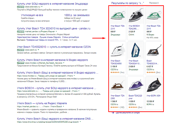 Пример товарных объявлений в Поиске Google