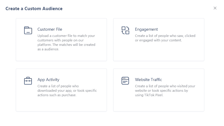 Создание пользовательской аудитории на основе файла, трафика или действий в Тик Ток Эдс