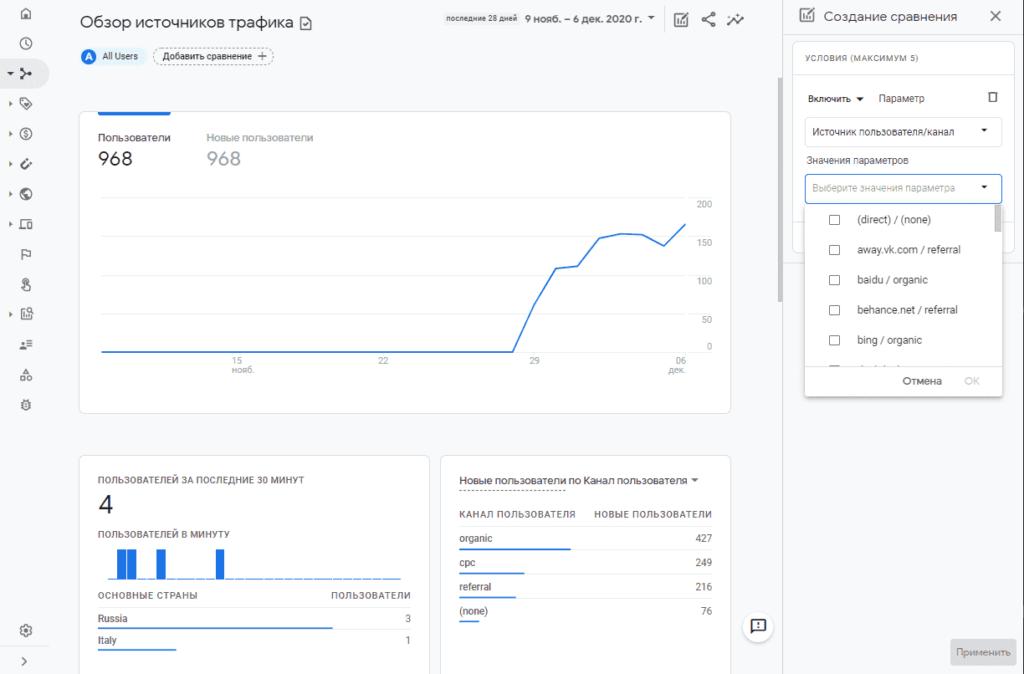 Выбор источника и канала в Google Analytics 4