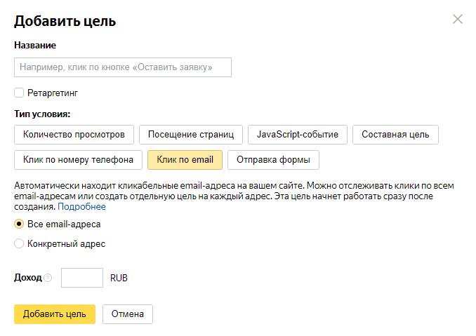 Цель Клик по email в Яндекс.Метрике
