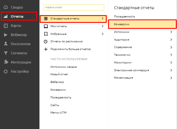 Переход в отчет по конверсиям в Яндекс.Метрике