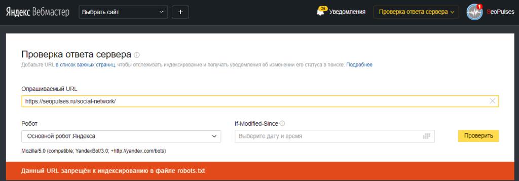 Проверка закрытия от индексации в проверке ответа сервера в Яндекс