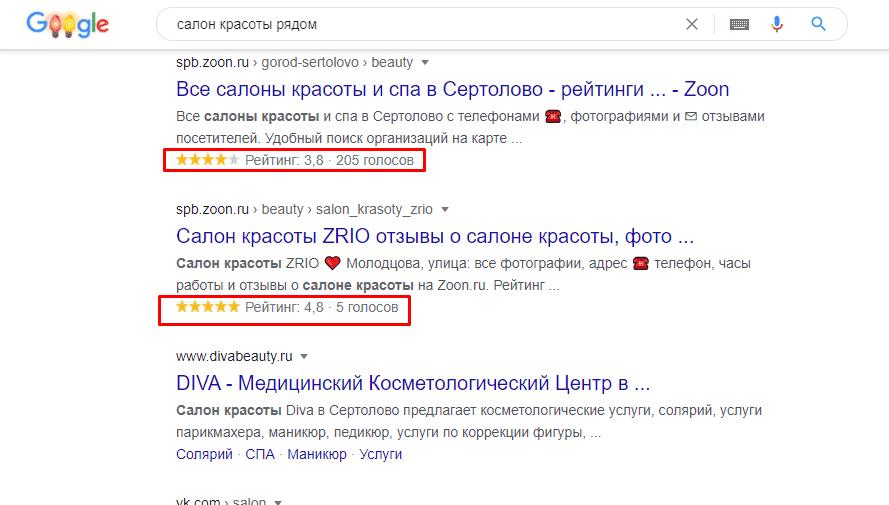 Рейтинг сайта в Google