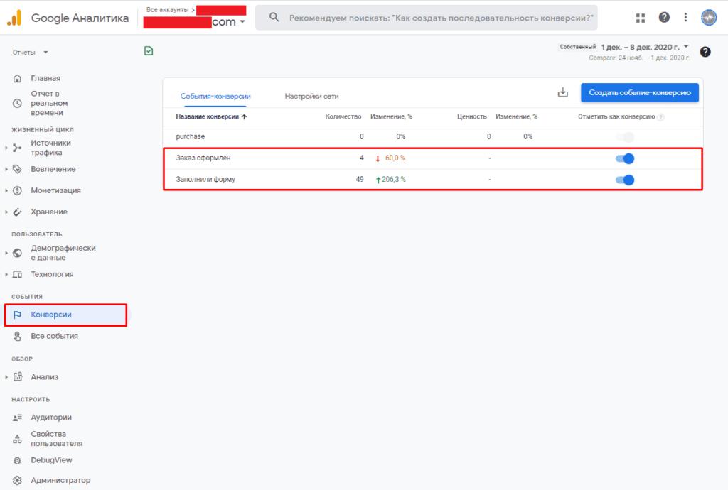 Перевод конверсий в цели в Google Analytics 4