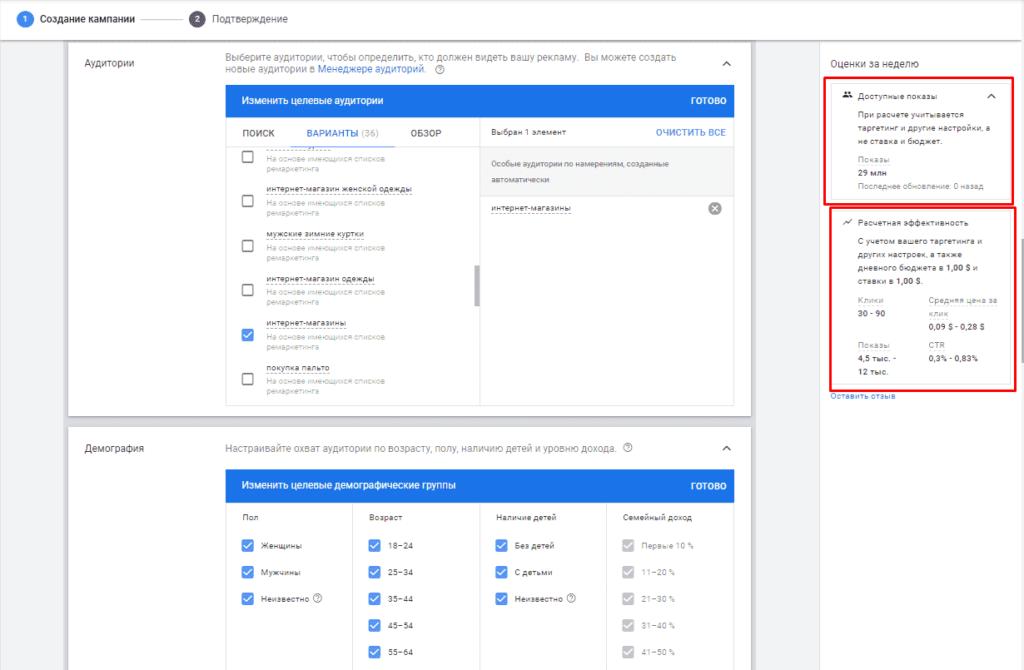 Предварительные результаты при создании кампании в КМС в Google Ads