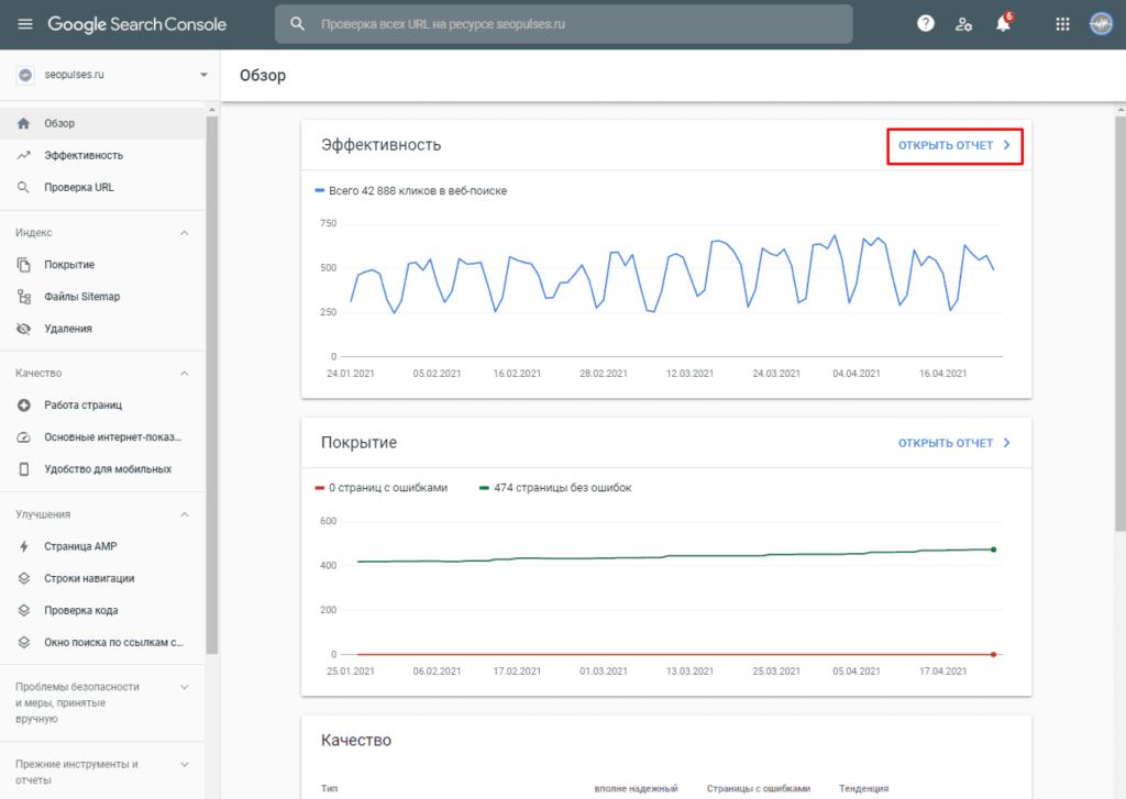 Открытие отчета по эффективности в Google Search Console