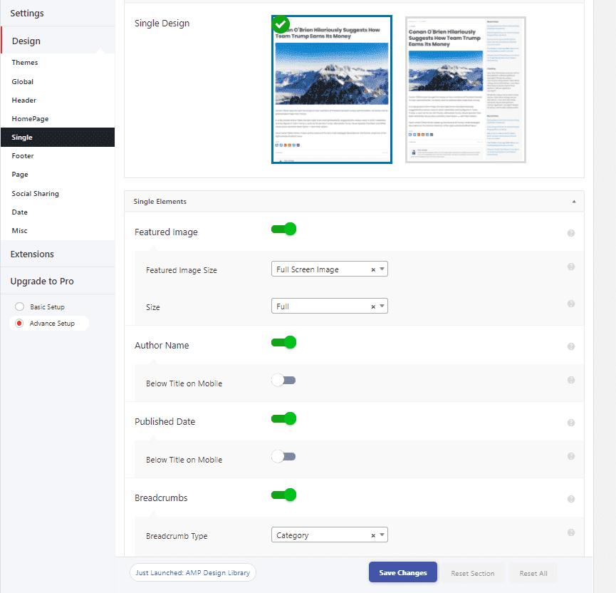 Настройки дизайна страницы в плагине AMP для WordPress