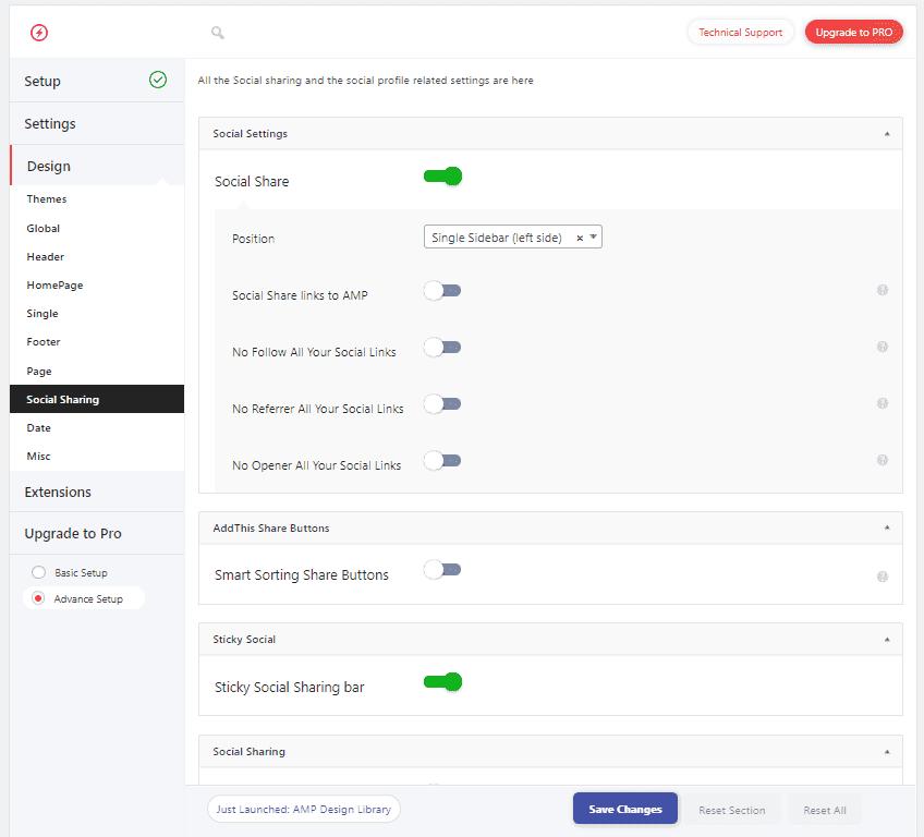 Настройки дизайна кнопки поделиться в плагине AMP для WordPress