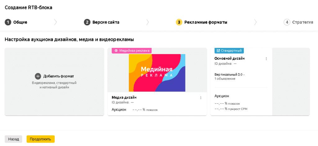 Выбор рекламных форматов для нового рекламного блока в РСЯ для сайта